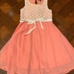 Peach chiffon dress with lace top